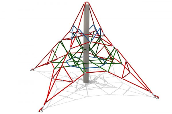 a pyramid net made of rope suspended from a central pole 2m high
