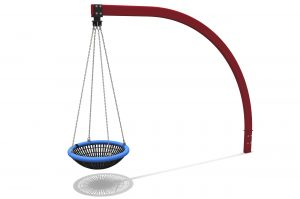 Cantilever Swing, single dark red arched beam holds a blue and black nest seat hung by chains