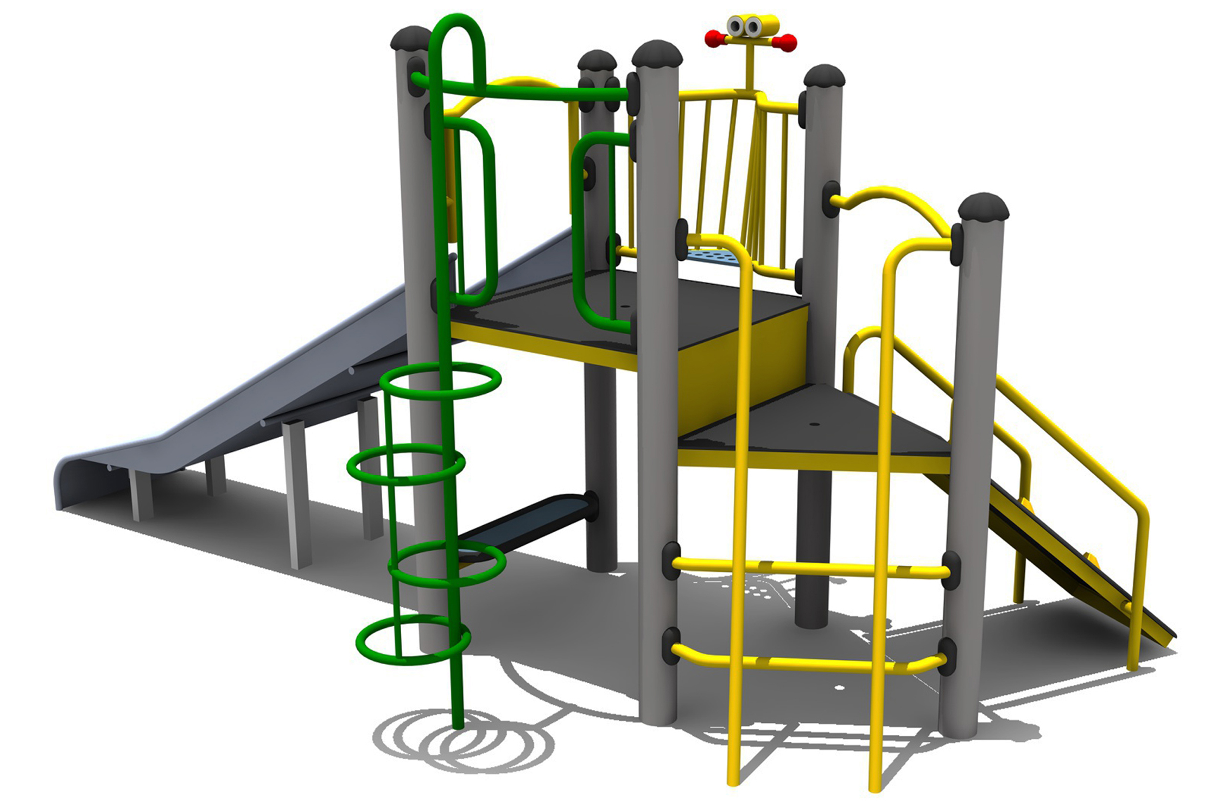 a set of aluminium posts hold up two platforms climbing ladders and ring climber all access the platforms and a wide steel slide