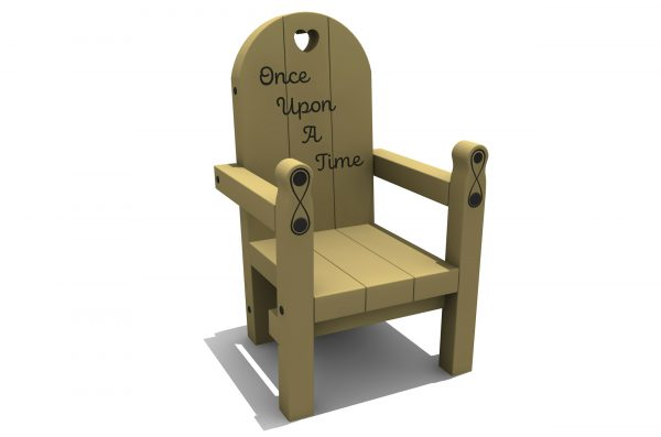 a timber constructed chair with engraved once upon a time in the chair back and engravings on the front legs