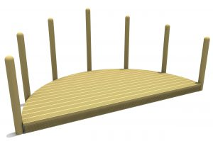 Semi Circular timber stage construction made of decking grooved timber and vertical surround poles
