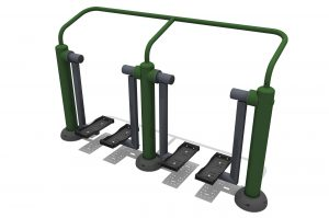 A Steel frame complete with hand rail, two pairs of grey foot plates hang down