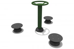 A central green pole with top handles is surrounded by 3 circular discs