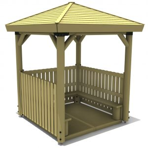 a timber square shelter with open front decked floor bench seats and balustrade sides