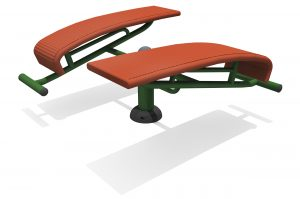 two red platforms set at slight angles each with horizontal leg holds