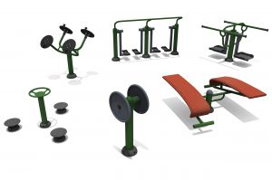 the Primary School Physical & Social Package includes six items shown here on a white background, the equipment in mainly green and grey in colour