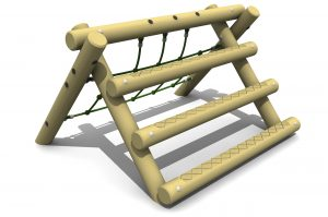 the A Frame Mini is a timber a frame with horizontal logs on the right and a green net on the left side