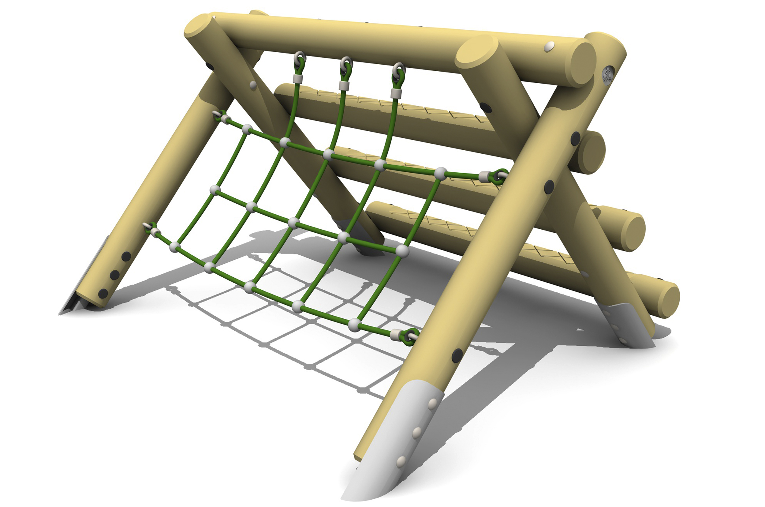 the A Frame Mini is a timber a frame with a green net on the left side and horizontal logs on the right with steel ground fixings
