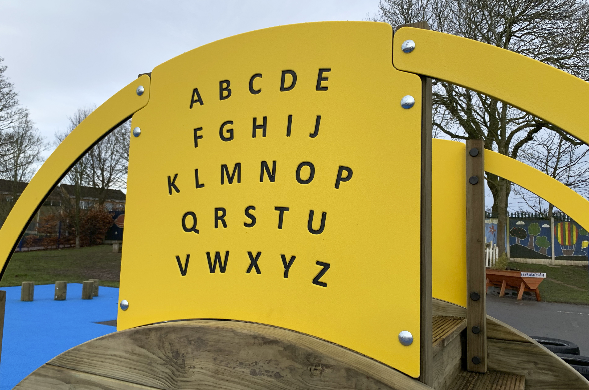 Sleeper Tunnel With Steps yellow alphabet play panel