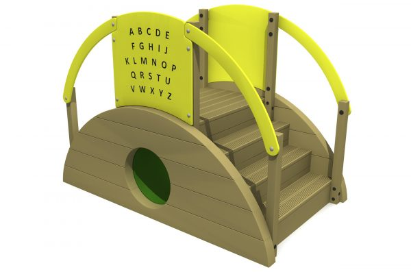 The sleeper tunnel with steps has a central green tunnel with steps to the right and a yellow alphabet play panel at the top complete with yellow hand rails