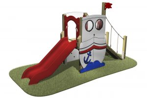 The Boat Slide is has a red slide, boat themed with portholes, flag and sloping ramp