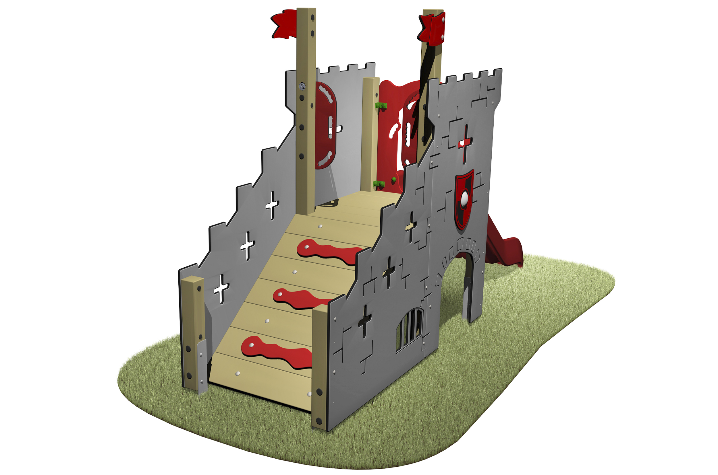 Castle Slide themed unit with a red slide and climb ramp