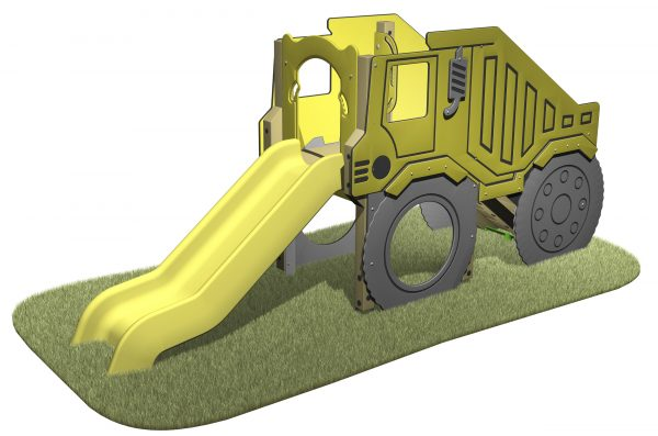 Dump Truck Slide with dump truck themed sides and yellow slide