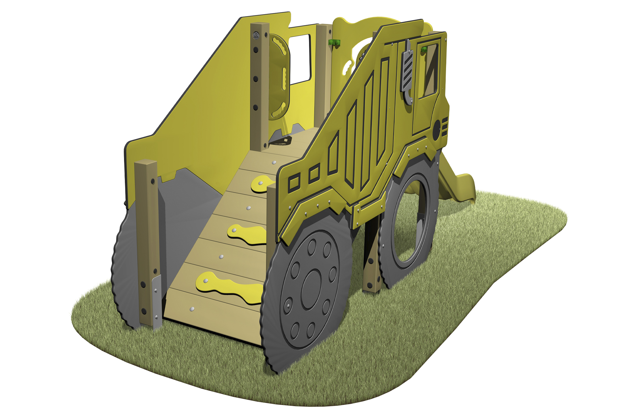Dump Truck Slide with dump truck themed sides access ramp and yellow slide