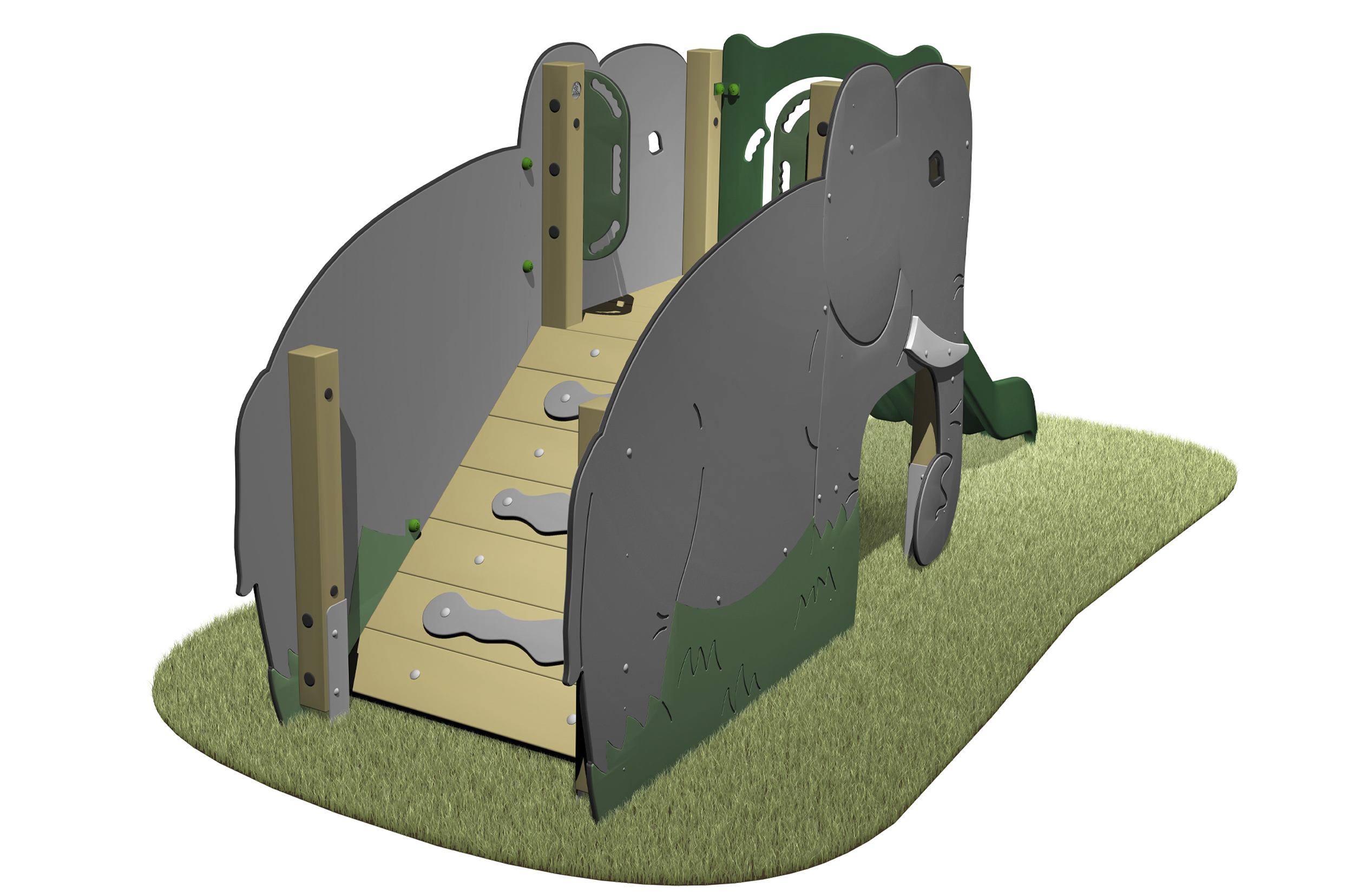 Elephant Slide with Elephants slides access ramp and green slide