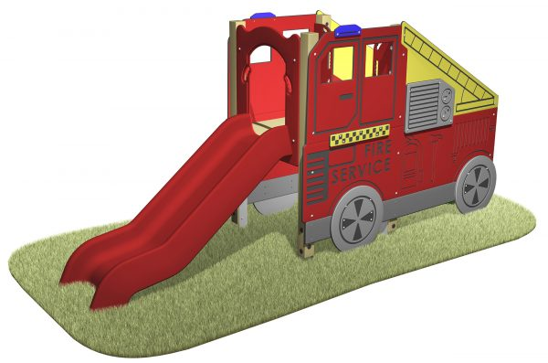 Fire Engine Slide with fire engine designed sides and red slide