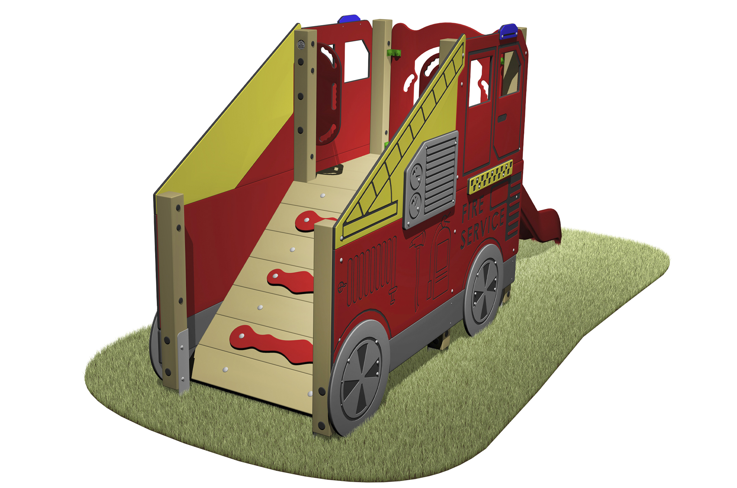 Fire Engine Slide with fire engine designed sides, access ramp and red slide