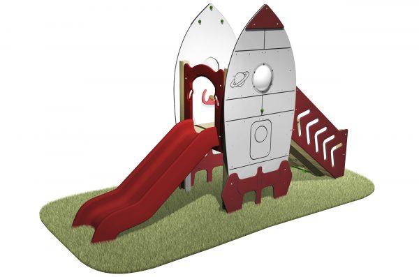 Space Rocket Slide with ramp walkway, space rocket designed sides and red slide