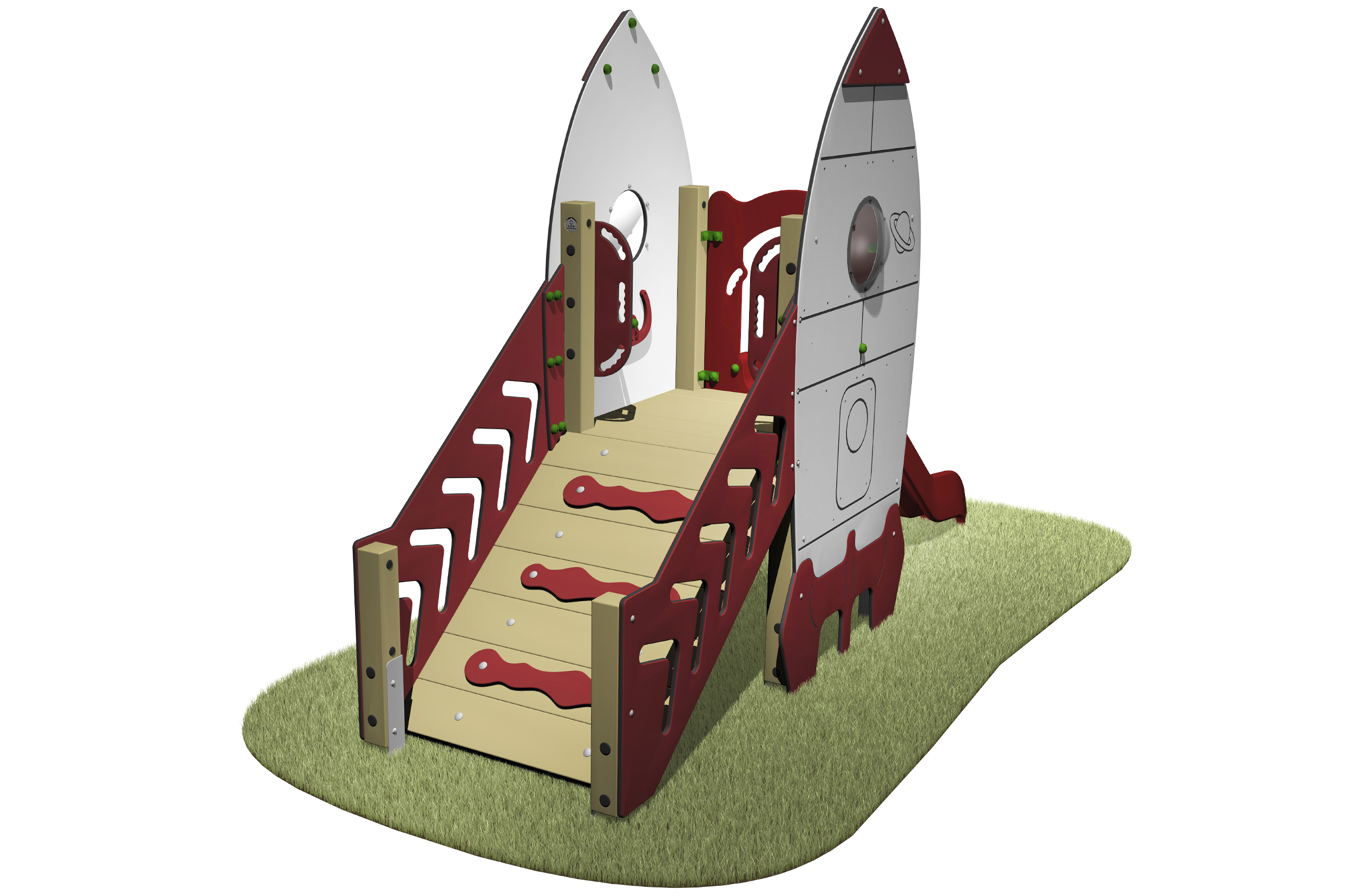 Space Rocket Slide with access ramp walkway, space rocket designed sides and red slide