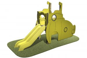 Submarine Slide with themed slides, portholes, periscope and yellow slide