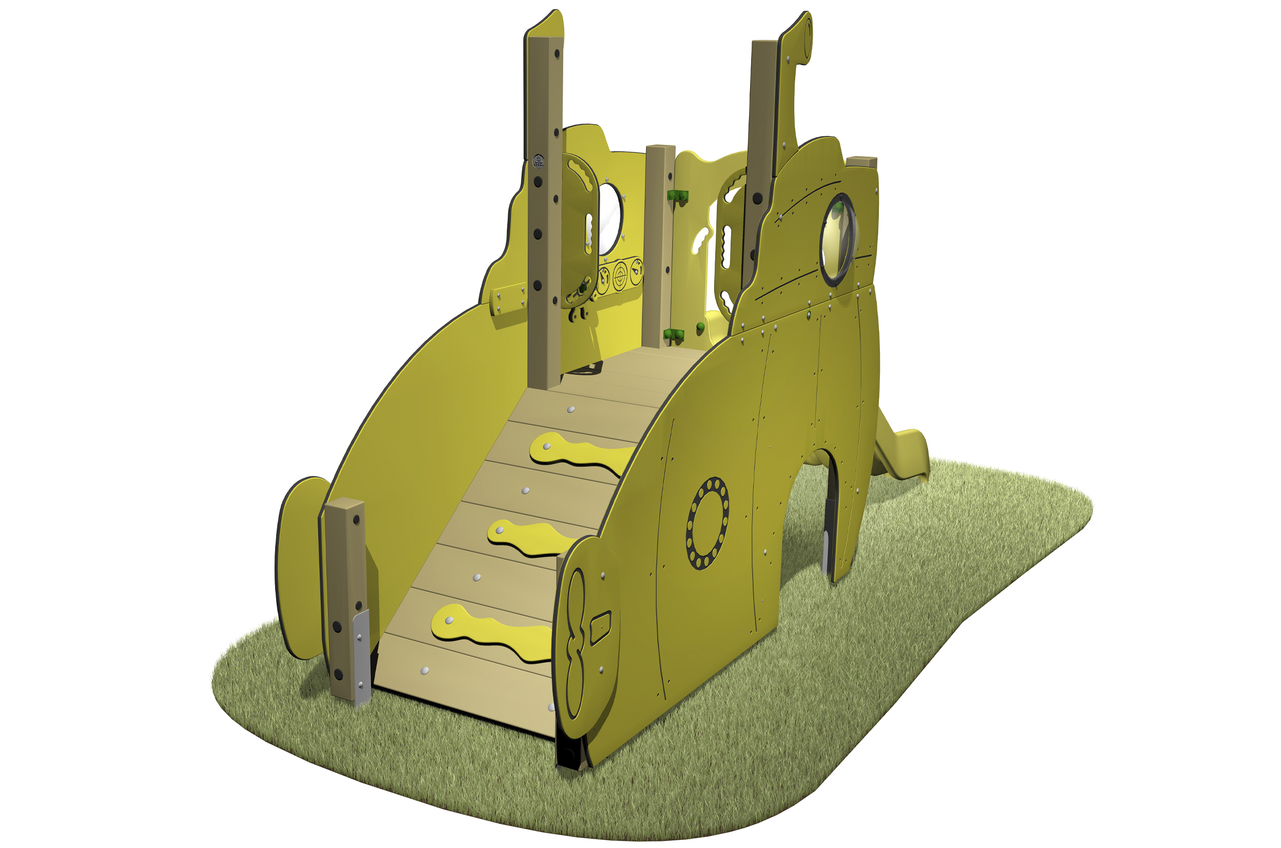 Submarine Slide with themed slides, portholes, periscope access ramp and yellow slide