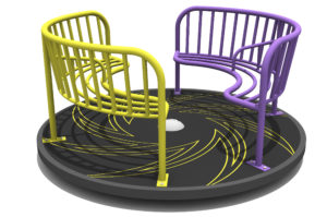The Blizzard Roundabout has a yellow and a purple inward facing set of seats