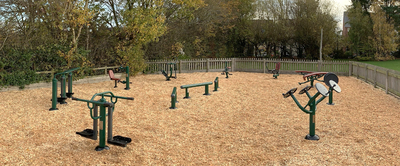Children's outdoor gym equipment at Lawley Primary School