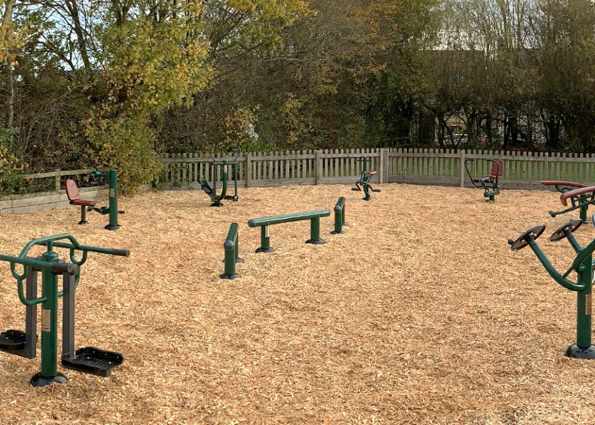 Children's outdoor gym equipment at Lawley Primary School