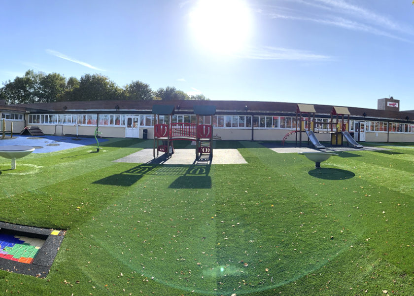 Sandon Primary Academy equipment sits on green artificial grass